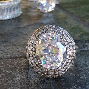 Jewelry - 18k white gold diamond ring pave halo wedding 6 CT